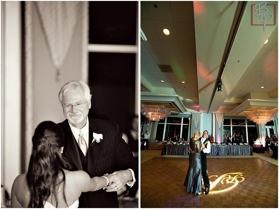 Photographs during wedding reception in San Diego