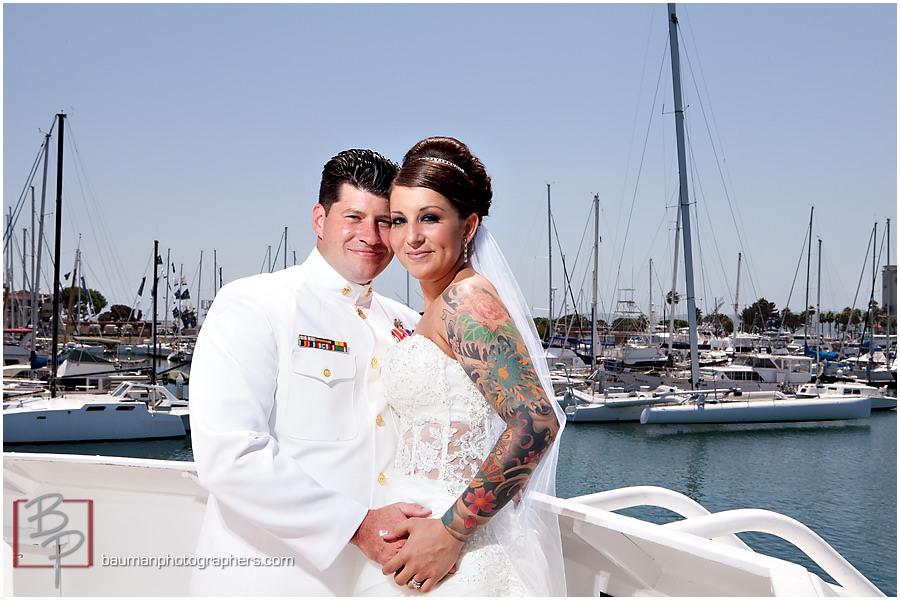 San Diego bay wedding bride with tattoo